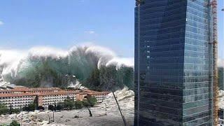 Шокирующее видео цунами в Японии -  3 часть