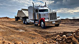 Busy Day Loading, Hauling, Unloading and pushing up material, Belly Dump, Trucker VLog 💯💯💯