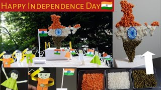 DIY Craft|Independence Day 5 Simple Crafts For School Projects|India TricolorMap Using Grains&Pulses