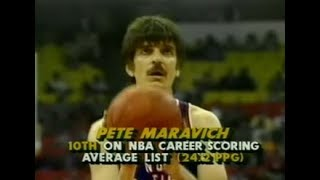 Pistol Pete Maravich 18p/1r/1a/2s - 1984 Old-Timers' Game [HD]