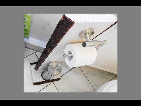 WC Garnitur / Holz / DIY / Massivholz mit Rinde/ heimwerken