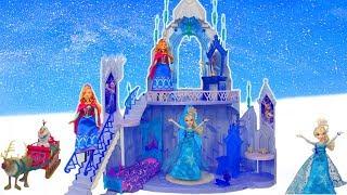 Frozen Elsa & Anna Dolls Unboxing: Ice Palace Princess Dollhouse, Olaf, Bedroom & Disney Doll Toys
