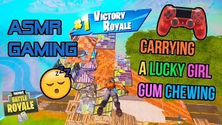ASMR Gaming 😴 Fortnite Carrying A Lucky Girl Gum Chewing 🎧🎮 Controller Sounds + Whispering 💤