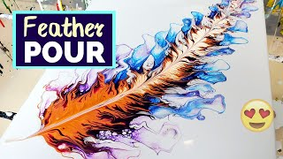 Must See🤩 Acrylic Pouring Feather With Negative Space - MIND-BLOWING! Fluid Art For Beginners