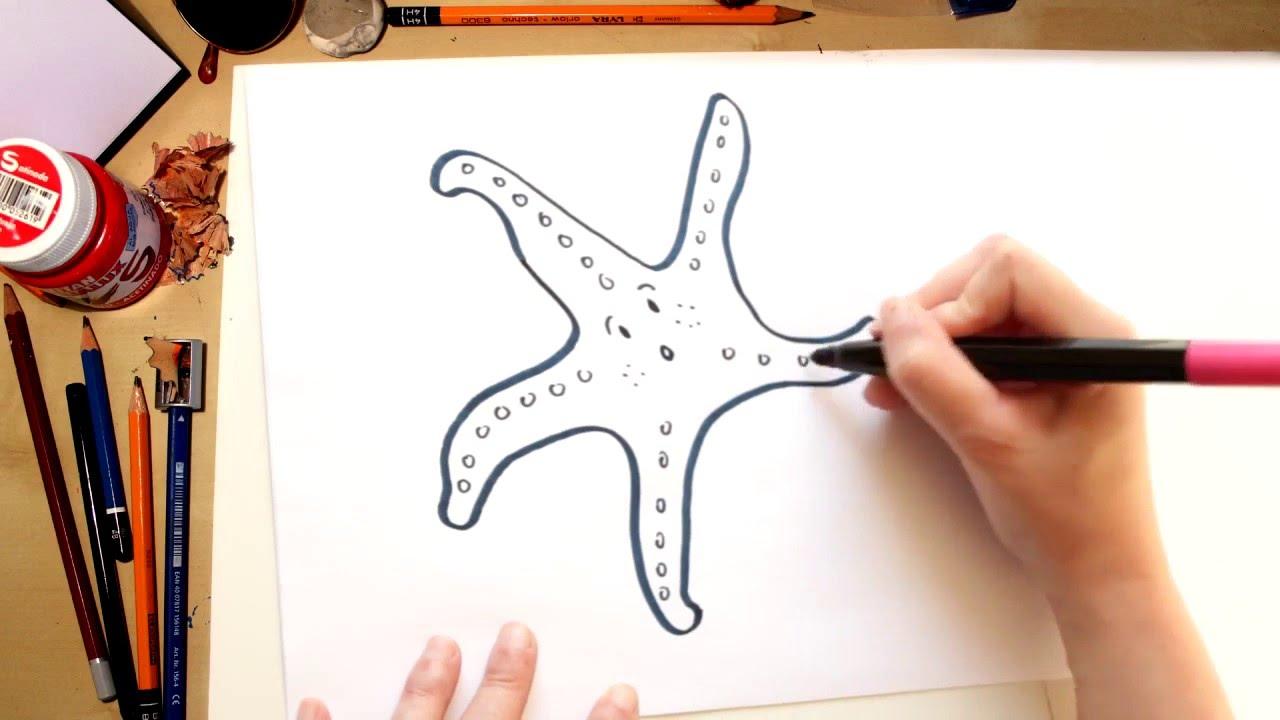 Como dibujar una Estrella de mar - dibujos de verano