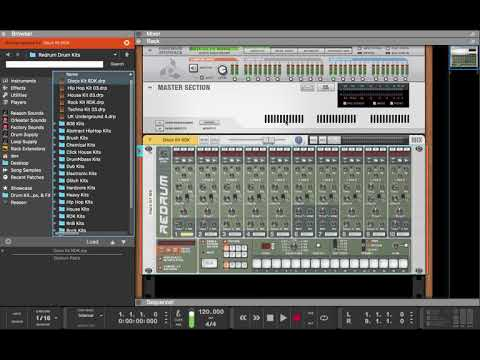 How to route drum instruments in Kong and Redrum to their own mix channels (Reason 10)