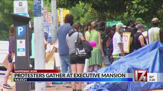 Raleigh protesters gather Sunday at Executive Mansion