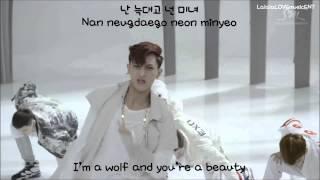 EXO - Wolf (늑대와 미녀) (Korean Ver.) (eng sub + romanization + hangul) MV [HD]