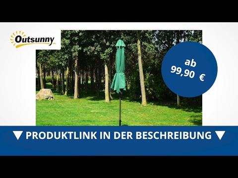 Outsunny Alu Sonnenschirm ? 2 75m LED Lautsprecher Solaranlage Kurbelschirm - direkt kaufen!