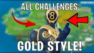 Fortnite HOW TO GET GOLD 8 BALL Style Skin (Location & Unlock Guide) ALL Challenges & Easiest Way