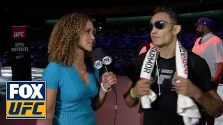 Karyn Bryant talks with Tony Ferguson after his open workout in Las Vegas | INTERVIEW | UFC TONIGHT