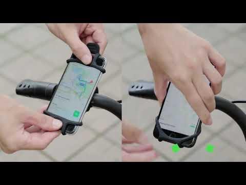 Держатель для телефона на велосипед силиконовый для 4 – 6 дюймовых экранов Floveme черный (РН-20186) Video #1