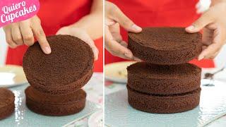 BIZCOCHO DE CHOCOLATE PERFECTO PARA TARTAS A CAPAS O LAYER CAKES  | RECETA FÁCIL | QUIERO CUPCAKES