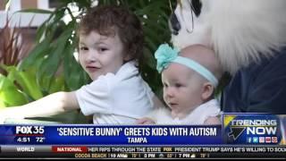 Sensitive Bunny Greets Kids with Austim