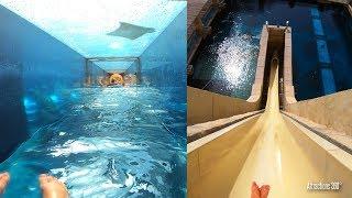 [4K] Shark Attack & Freefall Body Water Slides - Atlantis Water Park, Dubai