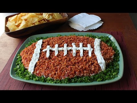 """Loaded Baked Potato"" Dip Football – Super Bowl Dip Recipe"