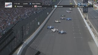 IndyCar Series 2017. Indy 500. Restart & Amazing Battle for Win