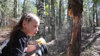 Little Girl Punches Down Tree Using Boxing Skills