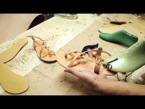Sandals workshop, making Greek leather sandals in Corfu, Greece
