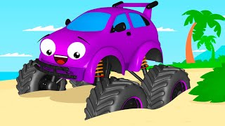 Monster Truck and Car Friends - Sea Racing - Cartoon For Kids