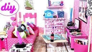 4 DIY Miniature Dollhouse Rooms - Kitchen, Living Room, Bedroom, Bathroom For LOL, LPS