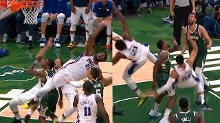 Joel Embiid & Ben Simmons synchronously flopped to the floor :DDDDDDD ! Sixers vs Bucks