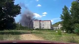 Пожар в школе п.Краснооктябрьский (видеограф: natalireiborak)