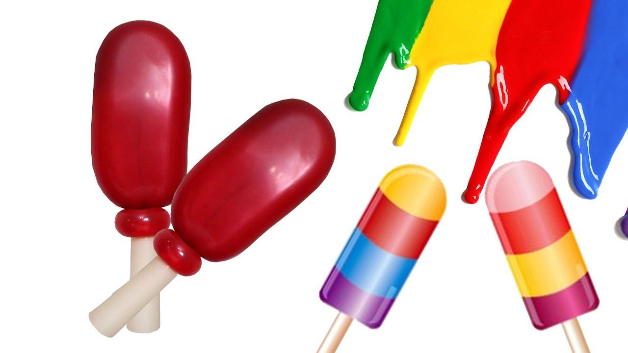 Rica paleta de helado en globos, aprende fácil y rapido