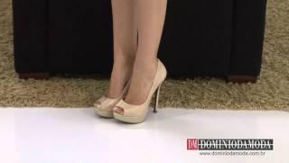 Sapatos Femininos: Scarpin Peep Toe Meia Pata Biondini Couro Bege 7873739 - Domínio da Moda