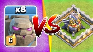 WHAT HAPPENS WHEN 8 GOLEMS ATTACK ONE BASE!?! - Clash Of Clans New Events 2017!