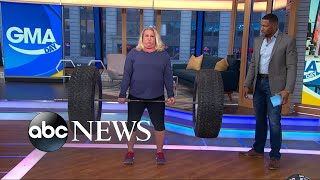 America's strongest mom, Kristin Rhodes, shows off her strength on GMA Day