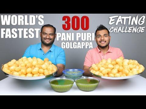 300 PANI PURI / GOLGAPPA EATING COMPETITION   Pani Puri Challenge   Food Challenge