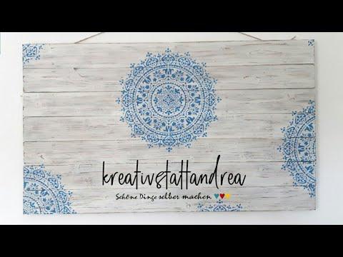 DIY - Mandala Wandbild auf Holz mit Kreidefarbe / Vintage Shappy Skandinavisch [Wie man]