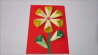 Открытка из цветной бумаги из кружков.