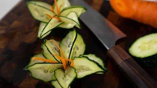 Cucumber Garnish Flower - Sensei Level Food Art