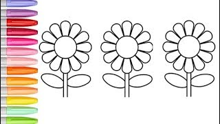 Glitter Flower Drawing And Coloring Pages Flowers Coloring With Glitters Learning Colors For Kids