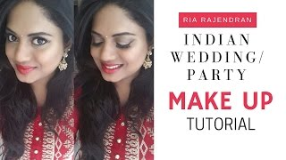 Image for video on Indian Wedding / Party Makeup : Golden Smokey Eye + Red Lips Look (for Indian / Brown / Tan Skin) by Ria Rajendran