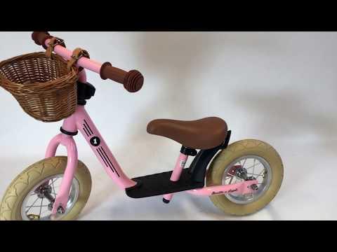 Loopfiets Bandits & Angels - Starter retro pink limited. Geschikt vanaf 2 jaar. Mand is optioneel.