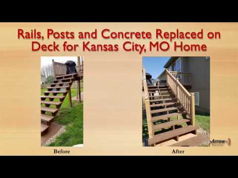 Rails, Posts and Concrete Replaced on Deck for Kansas City, MO Home