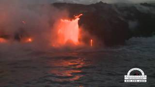 preview picture of video 'Sunset Volcano Boat Kilauea Lava Flow May 2010'