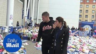 Rebekah and Jamie Vardy weep as they visit Leicester City memorial