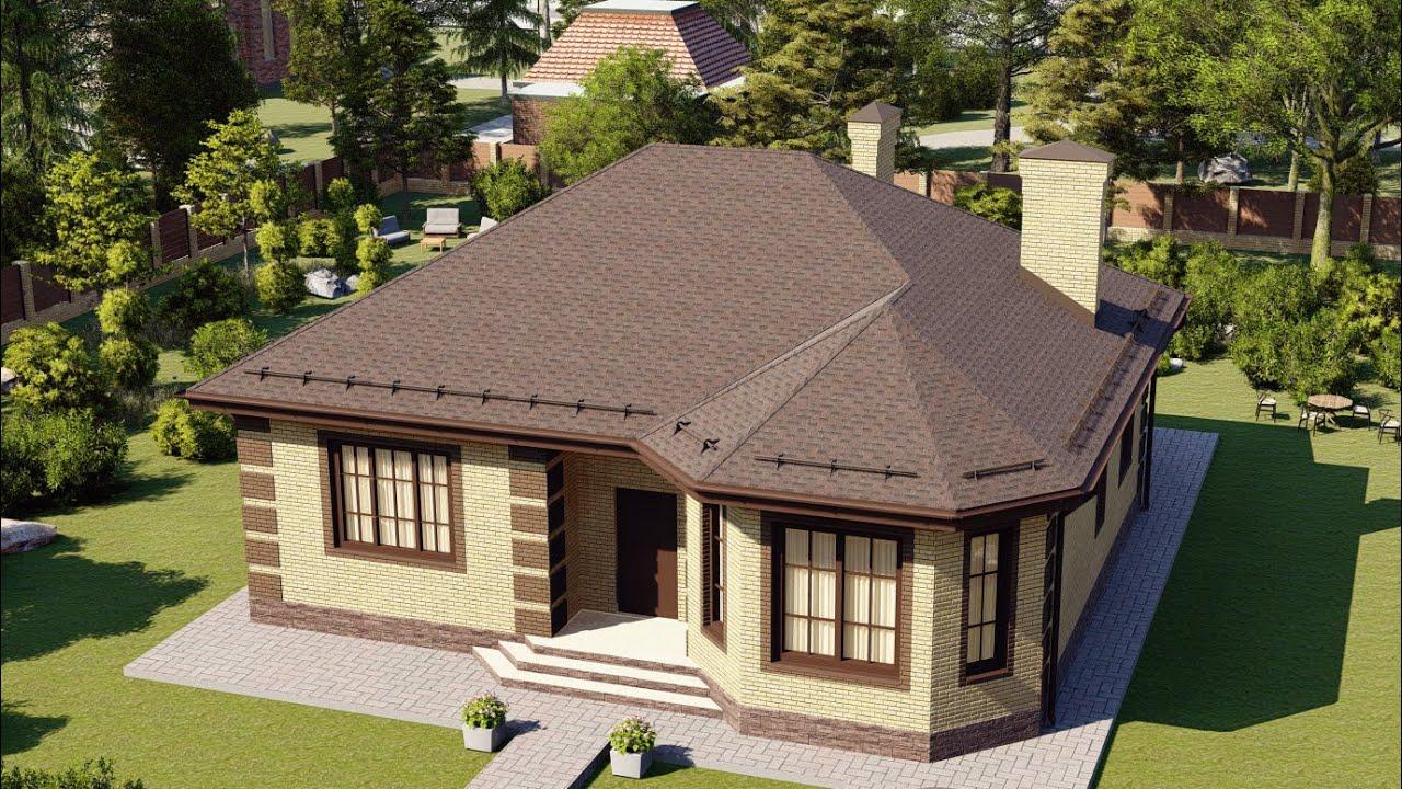 Красивый одноэтажный дом эркером