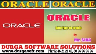 Oracle ||   Data types of  Oracle by Siva