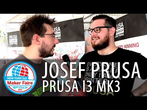 First Look at Original Prusa i3 mk3 3D Printer #MFNY17 - Josef Prusa at Maker Faire New York 2017