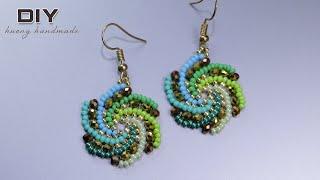 Spiral Beaded Earrings. Beaded Jewelry Diy