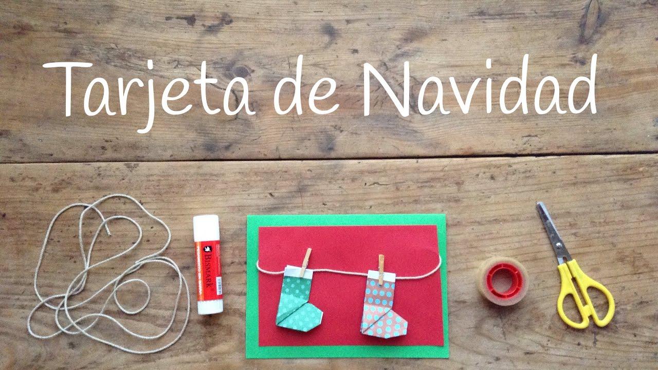 Tarjetas de Navidad originales con botas de origami fácil para niños