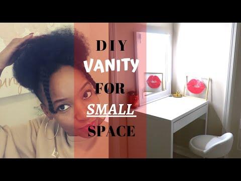 DIY VANITY FOR SMALL SPACE | IKEA DESK VANITY | CORDLESS VANITY LIGHTS