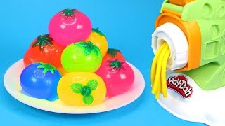Learn Colors with Play Doh & Squishy Fruit Balls and Slime Fun Play Doh Spaghetti Machine for Kids