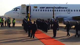 President Emmerson Mnangagwa arrives at Waterkloof Airbase for the BRICS Africa outreach summit