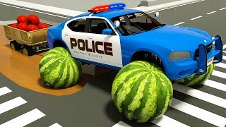 Fire Truck Assembly Police Cars Tires with Watermelon, Surprise Soccer Balls, Street Vehicles Video
